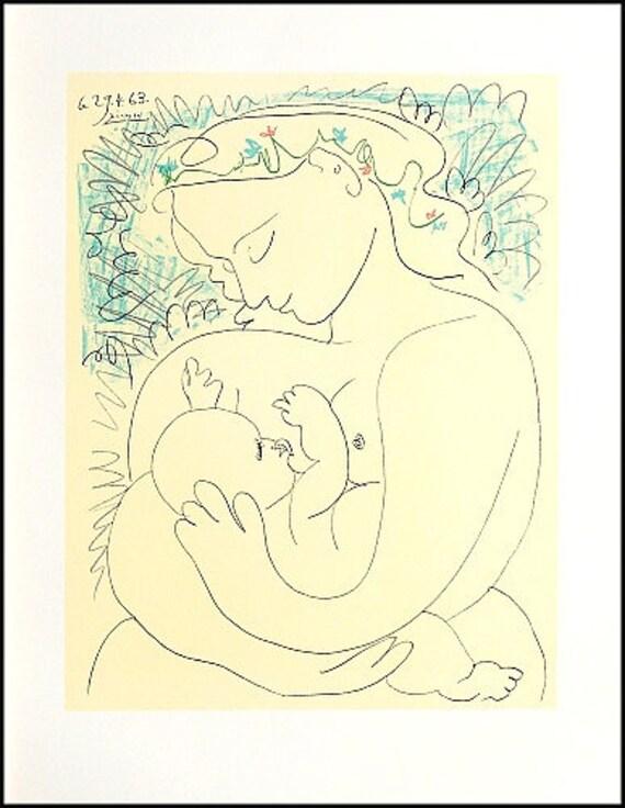 PABLO PICASSO \'Maternite\' original lithograph | Etsy