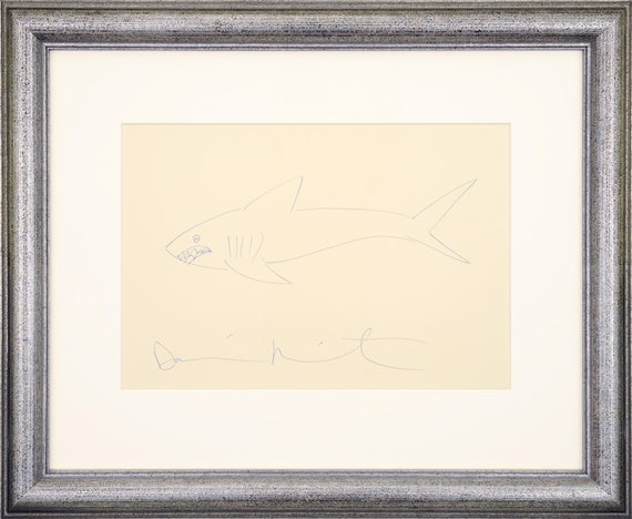 Damien Hirst Signed Original Shark Drawing On Paper Drawing Etsy