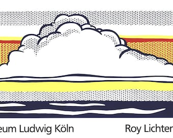 ROY LICHTENSTEIN - 'Cloud And sea' - rare original vintage screenprint - c1989 - very large (Limited edition. serigraph) ex