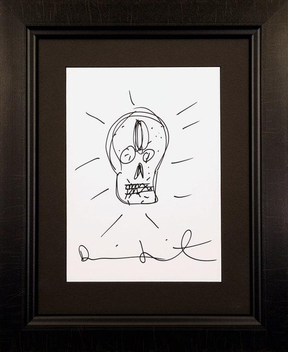 Damien Hirst Signed Original Skull Drawing On Paper Drawing Etsy