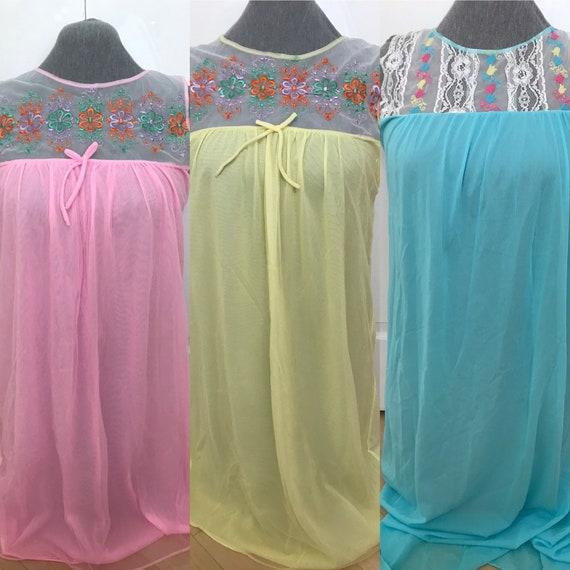 Set of 3 Vintage Nylon Nightgowns