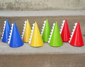 740868cc500e4 Dinosaur Cone Hats | Birthday Party Hats | Colorful Dinosaur Birthday Hats  with Spikes | Primary Colors Party Favors | Party Decorations