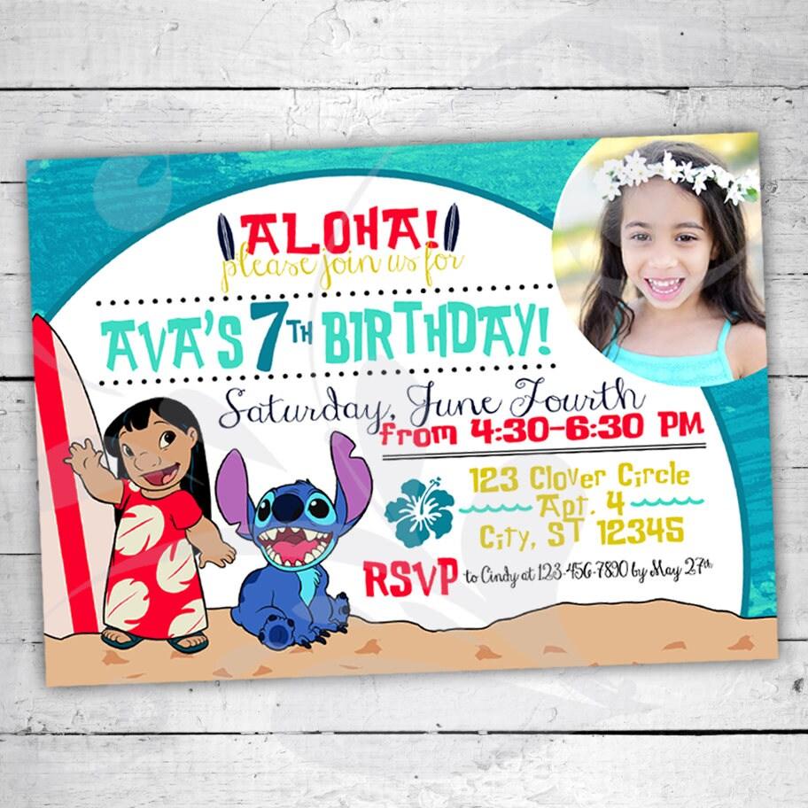 Lilo & Stitch Birthday Party Invitation Colorful Birthday | Etsy