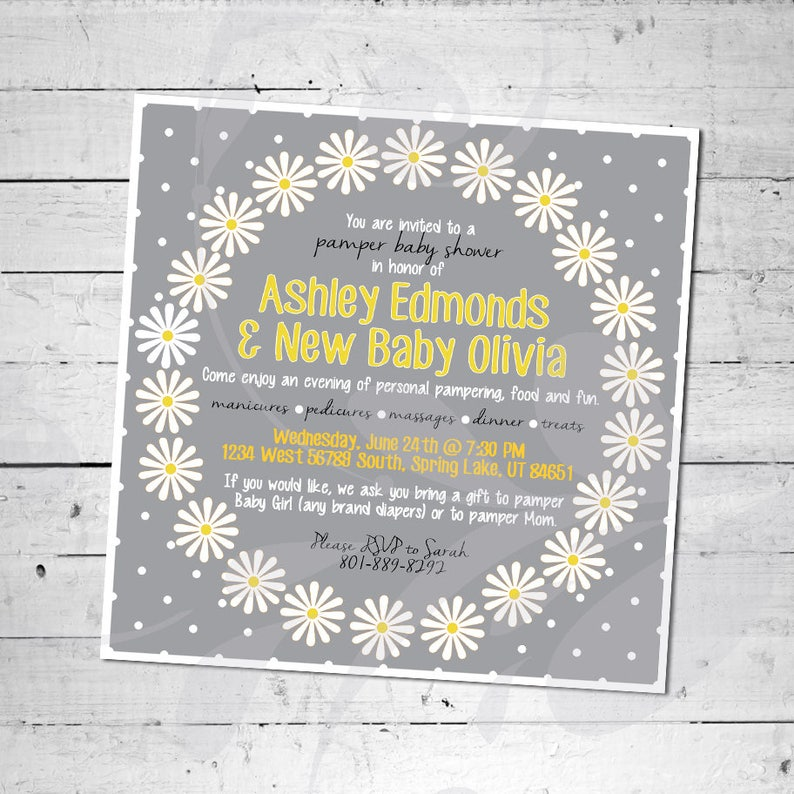 8aaccf61dabb Daisy Pamper Baby Shower Invitation Custom 5x5