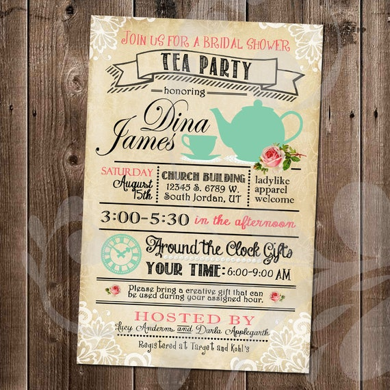 5dd8d94e8552 Tea Party Bridal Shower Invitation Around the Clock Gifts