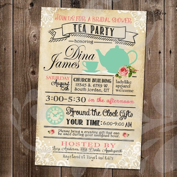 Tea Party Bridal Shower Invitation Around The Clock Gifts Theme Vintage Roses Rustic Invite Antique Lace Ladies Brunch Digital Files