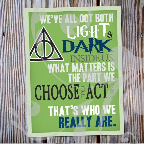 Harry Potter Light Dark Inside Us Quote Poster Etsy