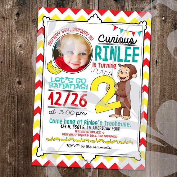 Curious George Party Invitation Monkey Birthday Invite With