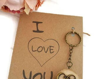 I Love you keyring, heart keyring, I love you card, boyfriend gift, girlfriend gift, gift for wife, wooden heart gift, valentine gift