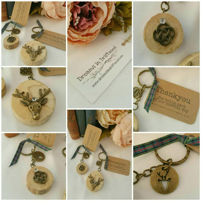 rustic wedding favours personalised wedding scottish favours keyrings stag deer celtic knot christmas wedding tartan or custom ribbon