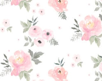 Pink floral fabric etsy pink watercolor floral fabric by the yard baby girl blush roses quilting fabric nursery flowers organic cotton kint fabric 5608644 8 mightylinksfo