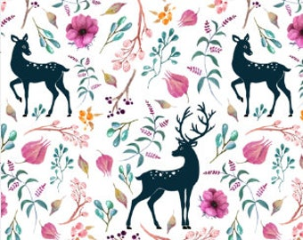 Deer in Flowers Fabric by the Yard Cotton Fabric Deer Fabric Floral Fabric Baby Girl Nursery Organic Cotton Knit Minky 7060451