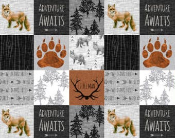Fox Adventure Awaits Forest Patchwork Quilting Fabric by the Yard Cotton Cheater Quilt Nursery Fabric Minky Fleece Fabric Childrens Fabric
