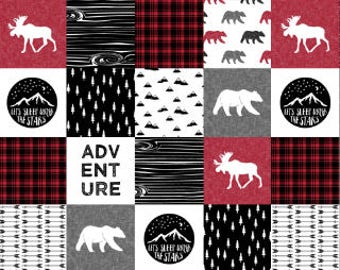 Woodland Adventure Cheater Quilt Fabric by the Yard Cotton Baby Boy Quilt Patchwork Bear Lumberjack Nursery Organic Cotton Minky