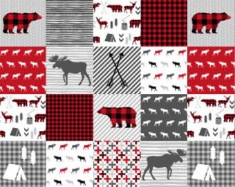 Woodland Cheater Quilt Fabric by the Yard Cotton Buffalo Plaid Woodland Forest Bear Nursery Organic Cotton Minky Childrens Fabric