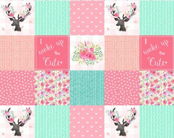 Deer Floral Patchwork Nursery Quilt Fabric by the Yard Pink Peach Mint Cheater Quilt Fabric Cotton Baby Girl Fabric Minky