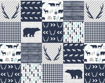 Woodland Bear Cheater Quilt Fabric by the Yard Navy Cotton Woodland Forest Bear Antlers Nursery Organic Cotton Minky Knit Fabric