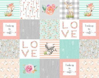 Woodland Animals Cheater Quilt Fabric by the Yard Patchwork Baby Girl Blanket Fabric Cotton Nursery Organic Cotton Minky Fabric