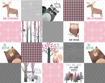 Woodland Cheater Quilt Fabric by the Yard Cotton Pink Grey Woodland Baby Girl Nursery Organic Cotton Minky Knit Fabric
