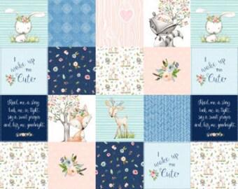 Woodland Nursery Patchwork Fabric, Baby Quilt Fabric, Woodland Animals, Baby Girl Fabric, Cheater Quilt Fabric, Cotton Fabric, Minky Fabric