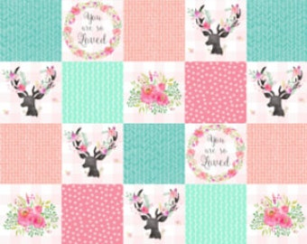 You Are So Loved Deer Patchwork Nursery Quilt Fabric Pink Peach Mint Cheater Quilt Fabric Cotton Minky Baby Girl Fabric by the Yard