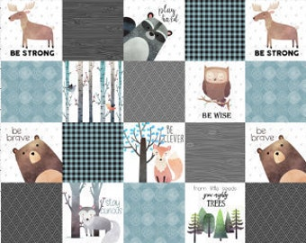 Woodland Critters Patchwork Fabric, Quilt Fabric, Woodland Baby, Cheater Quilt Fabric, Woodland Boys Nursery Fabric, Baby Blanket Fabric