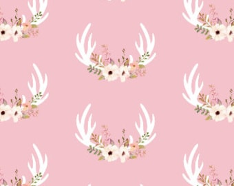 Soft Pink Floral Antlers Quilting Fabric by the Yard Cotton Girls Nursery Organic Cotton Knit Minky Knit Childrens Fabric 7154241