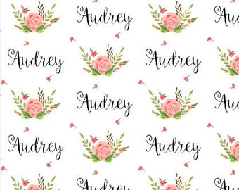 Floral Custom Name Fabric Baby Name Fabric Girls Personalized Fabric Baby Blanket with Name Fabric by the Yard or Fat Quarter B2