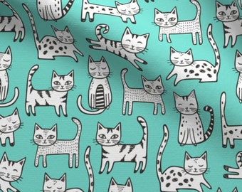 Kittens Fabric by the Yard Mint Girl Fabric Quilting Fabric Organic Cotton Minky Knit Cats Nursery Childrens Baby Girl Fabric 4464128