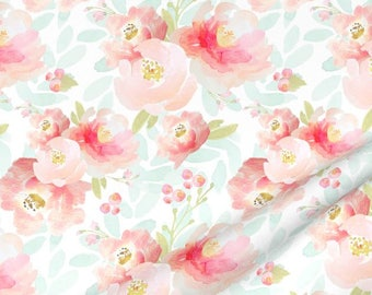 Pink Mint Floral Quilting Fabric by the Yard Nursery Fabric Organic Cotton Childrens Fabric Baby Girl Fabric Flowers Peach 5226808
