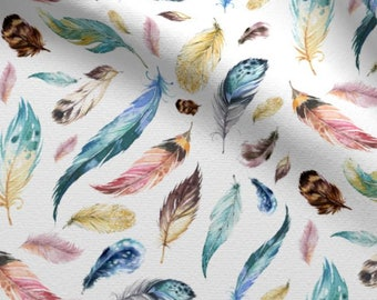 Bohemian Feathers Fabric by the Yard Cotton Boho Nursery Fabric Minky Jersey Knit Childrens Fabric Baby Girl Fabric Quilting 6226212-8