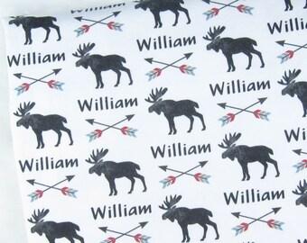 Moose Baby Blanket - Moose Swaddle Blanket Personalized Baby Boy Swaddle Personalized Moose Blanket Baby Name Swaddle Personalized