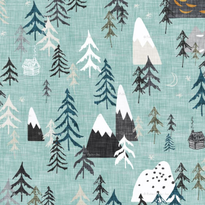 a50d76d153e Forest Peaks Fabric by the Yard Childrens Fabric Cotton | Etsy