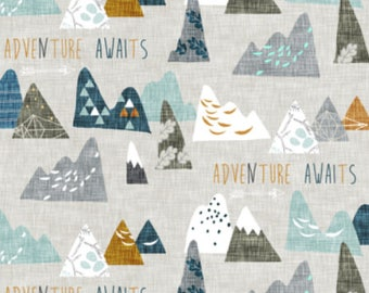 Adventure Awaits Fabric by the Yard Cotton Quilting Fabric Childrens Fabric Cotton Nursery Fabric Woodland Mountains Fabric
