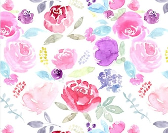Vibrant Watercolor Floral Quilting Fabric by the Yard Cotton Fabric Pink Floral Fabric Nursery Organic Cotton Knit Minky Fabric 6381299