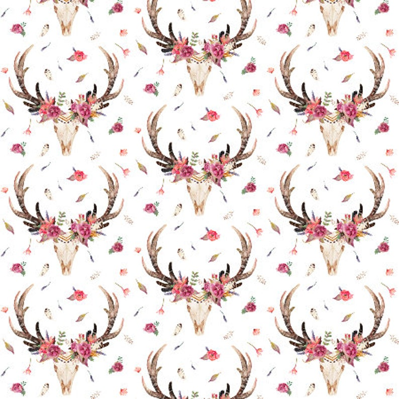 df5abeab0ab Boho Floral Skull Antlers Quilting Fabric by the Yard Cotton | Etsy
