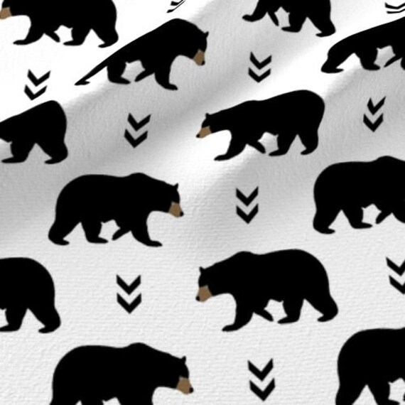 Black Bear Fabric By The Yard Bears Cotton Fabric Black