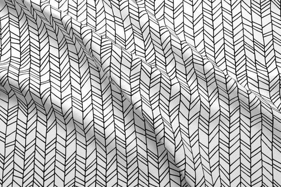 Chevron Herringbone Black White Fabric By The Yard Cotton Etsy