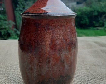 Handmade Ceramic Jar in Copper Red Glaze; suitable for storage of anything including tea!