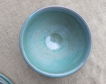 Hand Made Ceramic Bowl in Tea Green Glaze