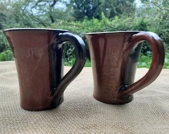 Beautiful Pair of Stoneware Ceramic Mugs in unique Two Tone Glaze