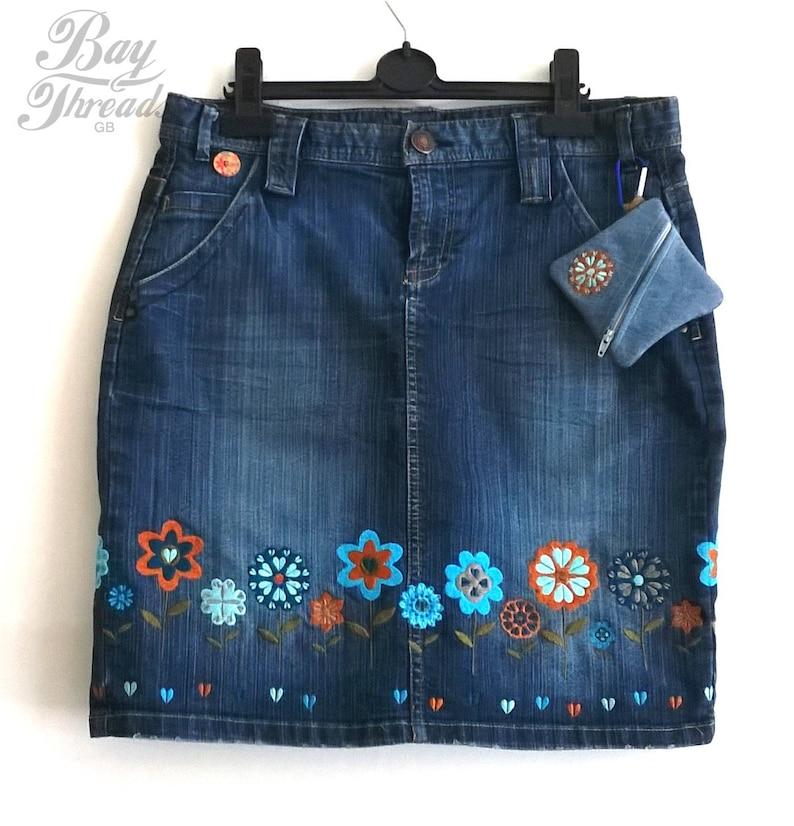 2ac5d77c3 Blue jean skirt denim skirt upcycled clothing embroidered | Etsy