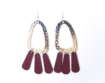 Sterling Silver/14k Gold Plated Genuine Leather Hammered Metal & Fat Fringe Dangle Earrings - Multiple Colors