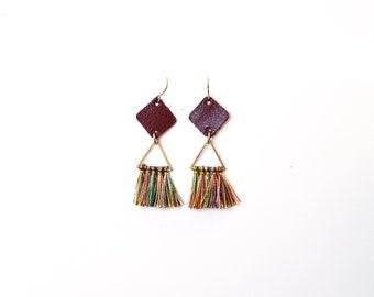 14k Gold Plated Genuine Leather Rainbow Tassel Dangle Earrings - Multiple Colors (Tarnish Resistant)