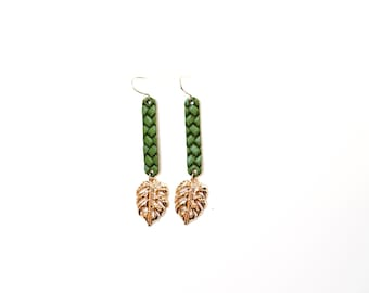 14k Gold Plated Genuine Leather Monstera Dreams Dangle Earrings - Multiple Colors (Tarnish Resistant)