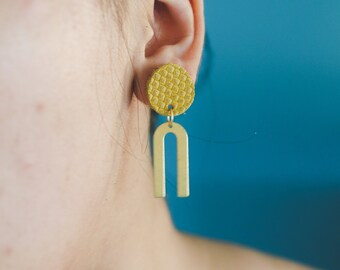 Genuine Leather Circle & Arch Earrings - Multiple Colors