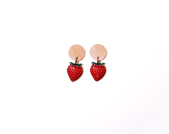 Sterling Silver Genuine Leather Stud Earrings: Fruit Collection - Multiple Colors