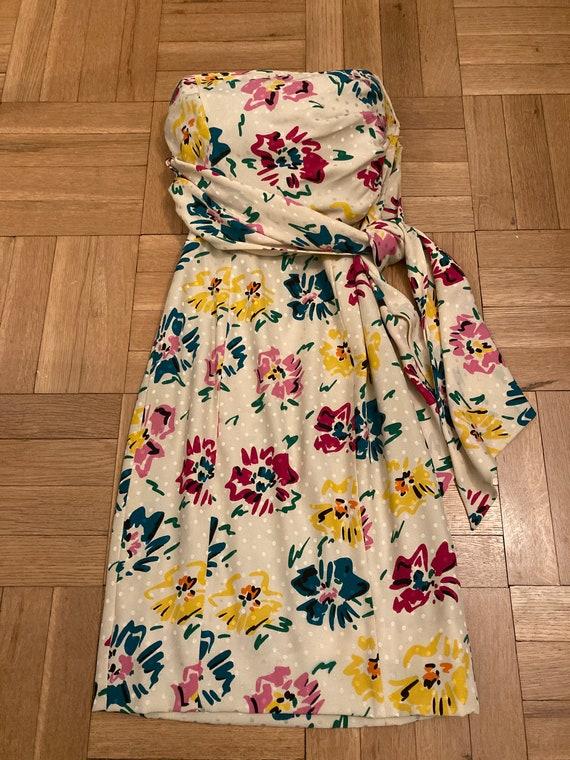 Vintage Emanuel Ungaro floral strapless mini dress