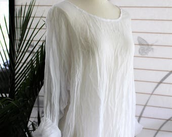 100% Crinkle Cotton White Sheer Freedom Top/Tunic/Beach Cover Up