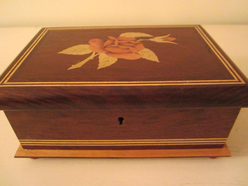 Brazilia Collection Wood Jewelry Box  By Dunston  Rose Inlay  Velvet Lined  Made in Brazil  Dresser Vanity  Decorative Jewelry